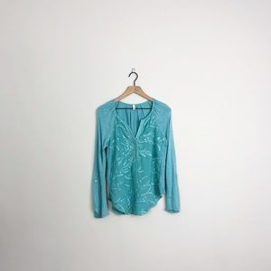 Anthropologie   Tiny blue floral embroidered shirt